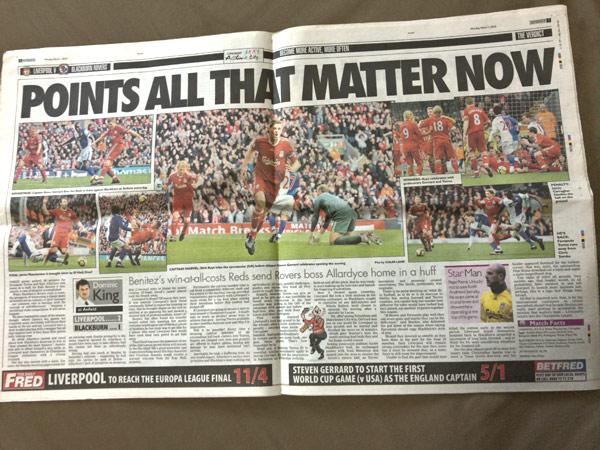 2010年3月1日版のリバプールエコー(Liverpool Echo)