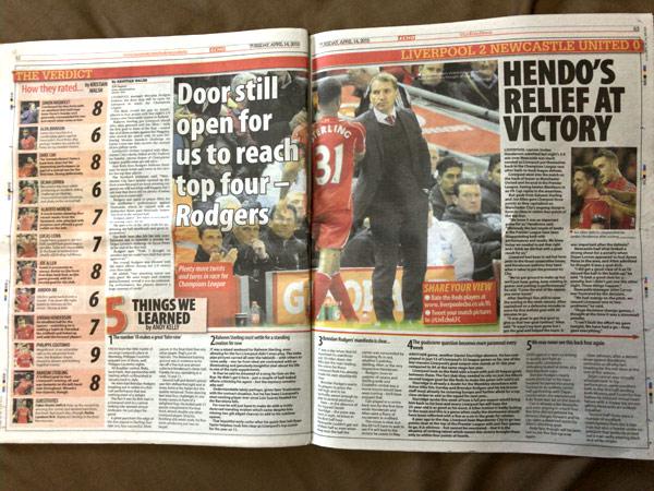 2015年4月13日/14日版のリバプールエコー(Liverpool Echo)