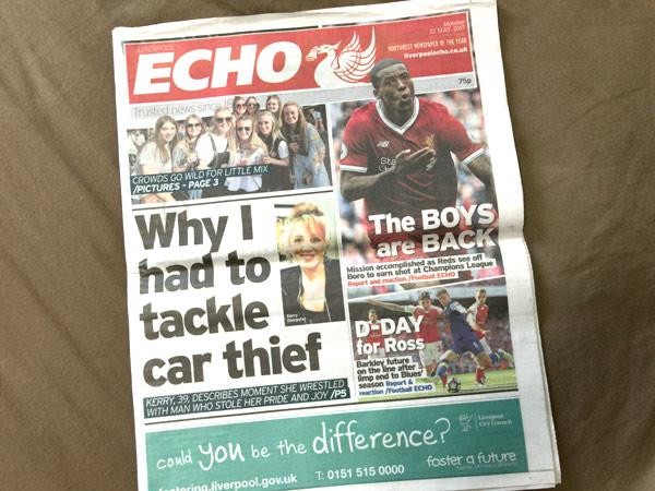 2017年5月22日版のリバプールエコー(Liverpool Echo)